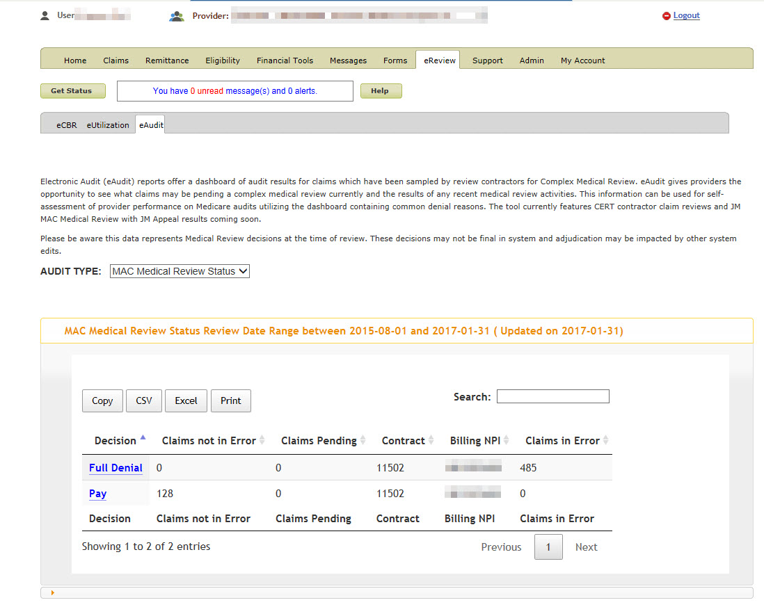 Example of eAudit Claims Data Details Table in eServices