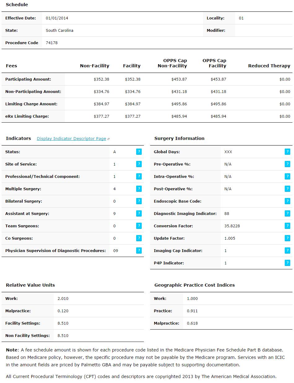 palmetto gba : medicare fee schedules